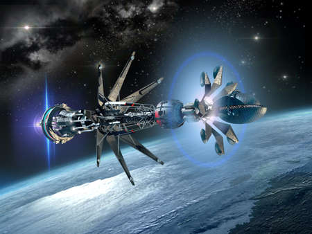 3D illustration of a warp drive spaceship near Earth, for science fiction artwork or video game backgrounds. Imagens