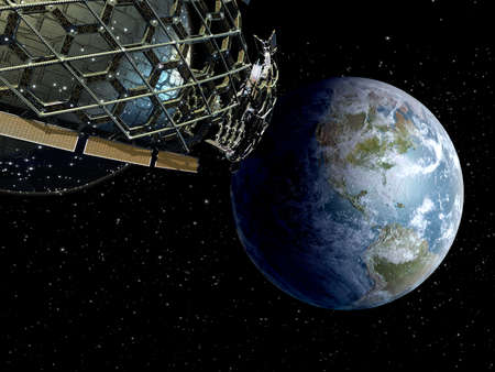 3D Illustration of a honeycomb geodesic structure in deep space flight, for science fiction video games, space exploration or interstellar travel backgrounds. Standard-Bild