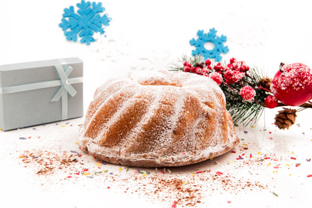 Seasonal festive christmas cake mini decorative dessert symbols elements Stock Photo