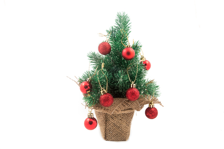 Beautiful christmas tree isolated on white background Gift packages Stock Photo