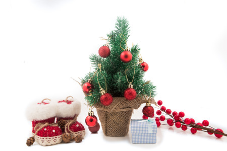 majors: Beautiful christmas tree isolated on white background Gift packages Stock Photo
