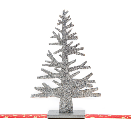 '5 december': Christmas tree from silvery aluminion isolated on white background