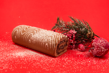 Christmas chocolate Swiss roll cake isolated on red background