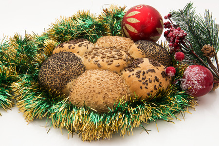 Bread mix with green olives and cereals, Italian food holiday season