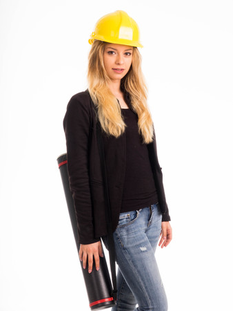architect tools: Businesswoman with safety helmet hard hat isolated on white background