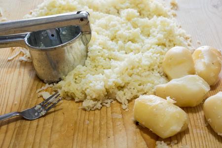 potato gnocchi cooking Italian food Stock Photo