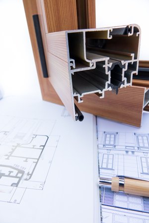 Aluminum profile with Architectural drawing and technical design Reklamní fotografie