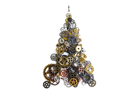 Christmas fir tree gears for shop on white background