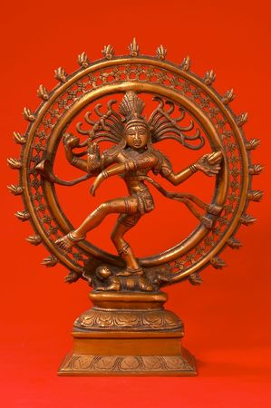 Indian Lord of the Dance on red Banque d'images