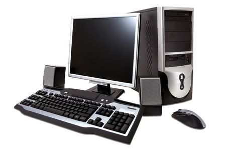 desktop computer with lcd monitor, keyboard, speaker and mouse, isolated over white. 스톡 사진