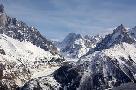 Alpes: View to the French Alpes Chamonix Mont Blanc Stock Photo