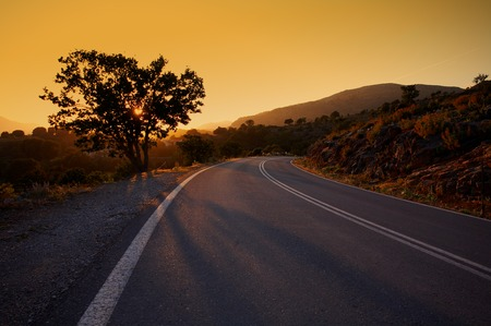 Sunset in mountains on island Crete Stock Photo - 1480352
