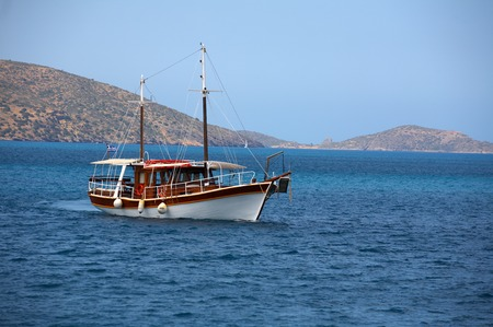 The ship on a background of the Greek islands