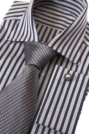 cuff link: Shirt with necktie and cuff link