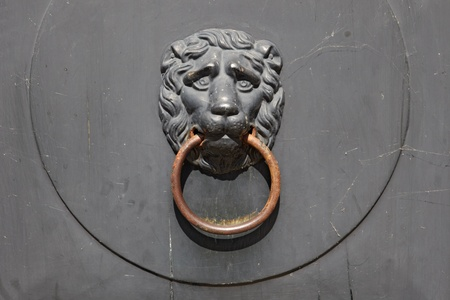 The ancient door handle: Lion holding in a mouth a ring