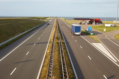 dike: Top view of a highway on the dike in the Netherlands Stock Photo
