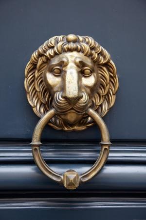 doorknocker: Door handle lion on blue door with a ring in the mouth