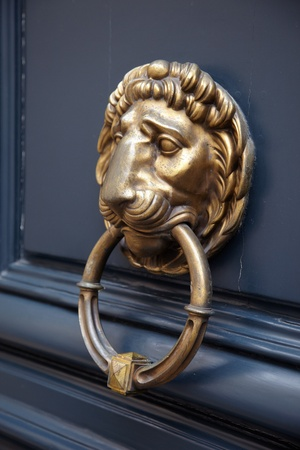 Door handle lion on blue door with a ring in the mouth photo