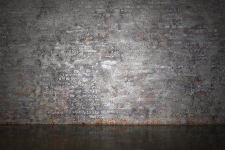 The gray brick wall and floor as a background Stock Photo - 19910935