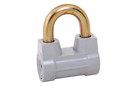 locking up: closed padlock isolated on white whit path