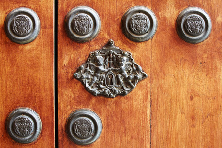 locks: Detail of old wooden door with a lock