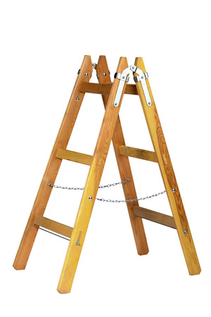 Old wooden ladder isolated on white