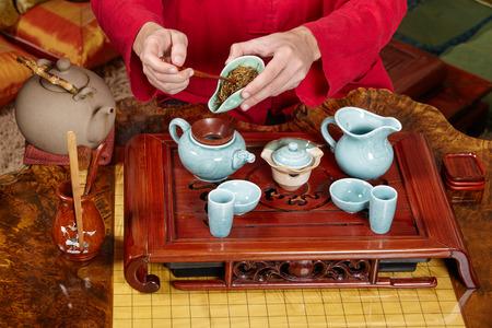 Feier: Alte Satz Geschirr und Zubehör für die Tee-Zeremonie