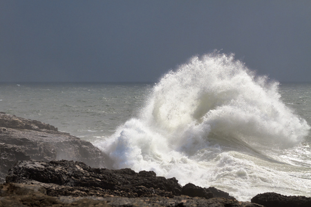 Surf breaking on the shore. Portugal. Cascais Stock Photo
