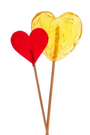 Two lollipop in heart shape Stock Photo