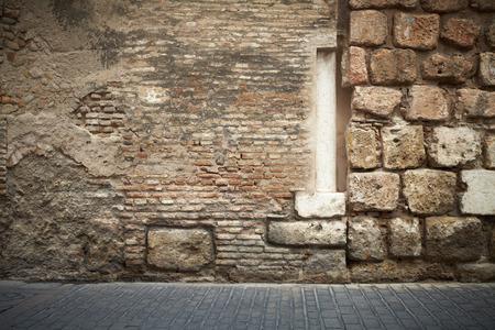 Abstract brick wall column and pavers