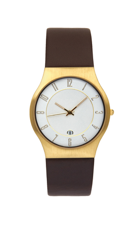 Gold wrist watch isolated on white background Stock Photo