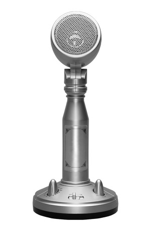 Stylish metal microphone isolated on white Stock Photo