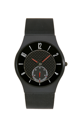 Black titanium wrist watch isolated on white background Stock Photo