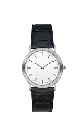 Silver wrist watch isolated white with clipping path
