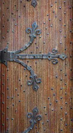 Belgian forged decorative door brown oak wood