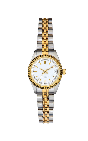 Steel - gold wrist watch isolated on white background