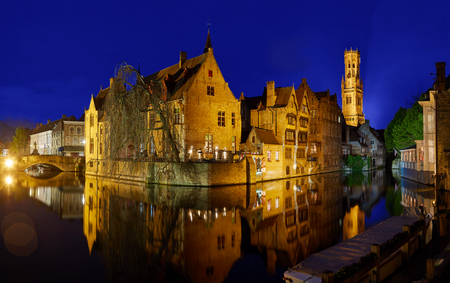 Night panoramic view of the Bruges Canal Stock Photo