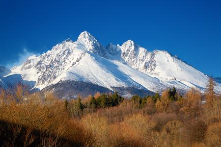 View of the snow-covered rocks  Lomnicky Peak. High Tatras, Slovakia