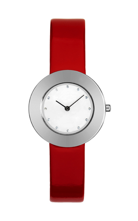 Titanium women's wristwatch isolated on white with a red leather strap