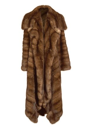 Beautiful female long brown fur coat, from natural mink fur isolated on white