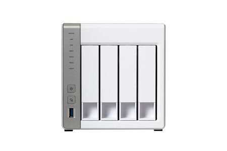 Network Attached Storage at four compartments for hard drive Banco de Imagens