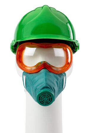 Dummy in hard hat safety glasses and respirator isolated on a white background