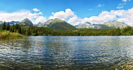 Panorama mountain lake Strbske Pleso High Tatras