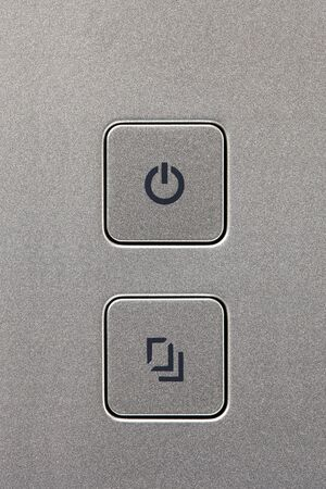 Metal power and copy button NAS Banque d'images