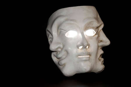 three wise men: A mask with three faces showing three states of mind