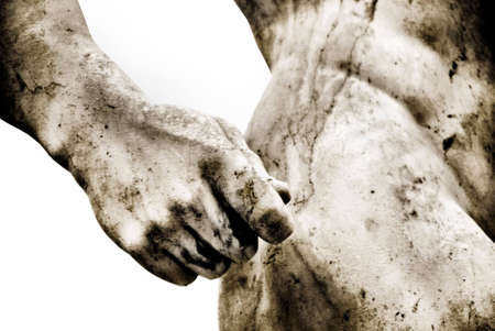 arte greca: Close-up di una statua romana con qualche grano aggiunto Archivio Fotografico
