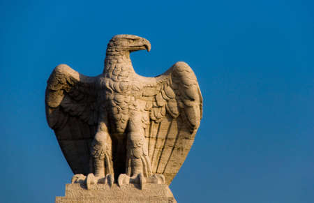 Old statue of an eagle on a blue sky in Rome, Italy .