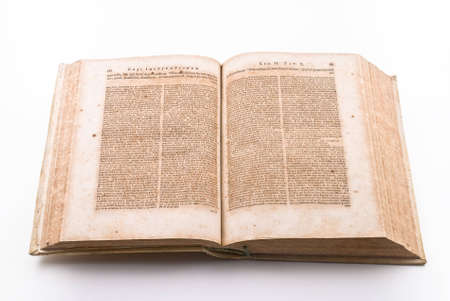 Pages of ancient law book in latin language photo