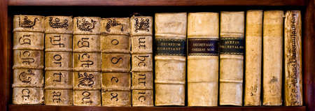 corporate culture: Ancient books (XVI and XVII century) on a wood shelf