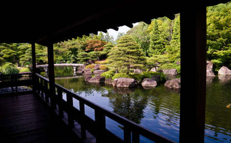 View from a veranda of a traditional japanese garden in Kyoto, Japan. photo